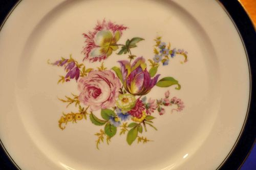 Rosenthal plate with cobalt blue edge and wild flowers