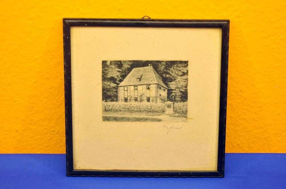 alte Radierung Goethes Gartenhaus um 1900 mit Rahmen - KuSeRa