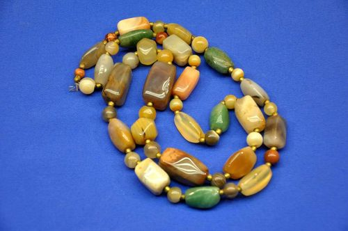 Gemstone necklace colorful tumble stones various shapes