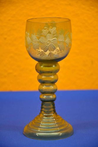 Wine glass hollow baluster stem flower enamel painting around 1900