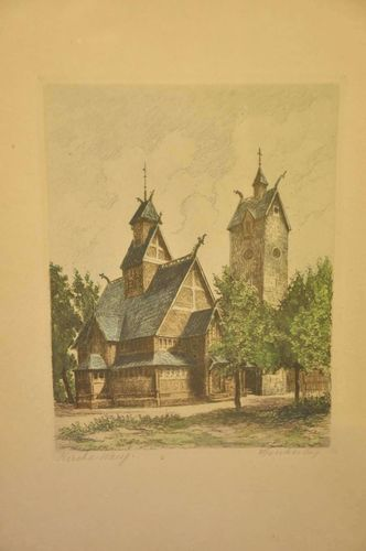Copper engraving hand colored church Wang around 1920