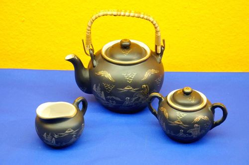 Sunny China Porzellan Tee Set Schwarz Gold