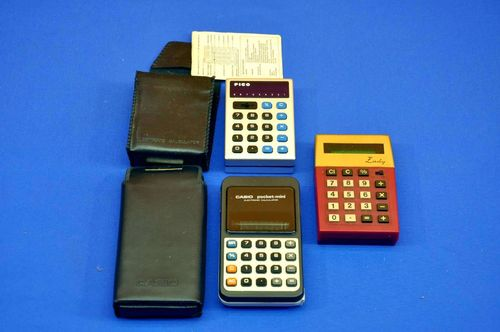 3 pocket calculator Lady + Casio Pocket mini + PICO PA-80N