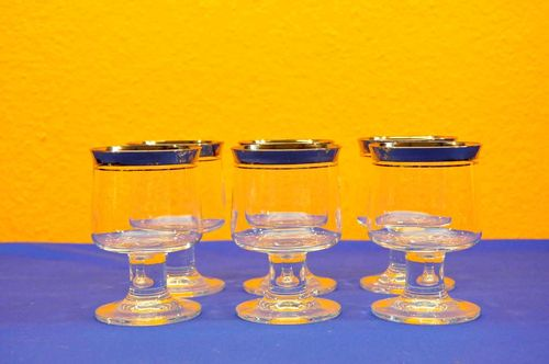 6 Thomas Rumba Wine Glasses Platinum Rim