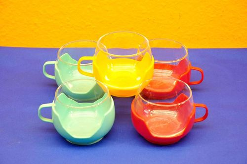 5 Vintage glasses with plastic holder colorful