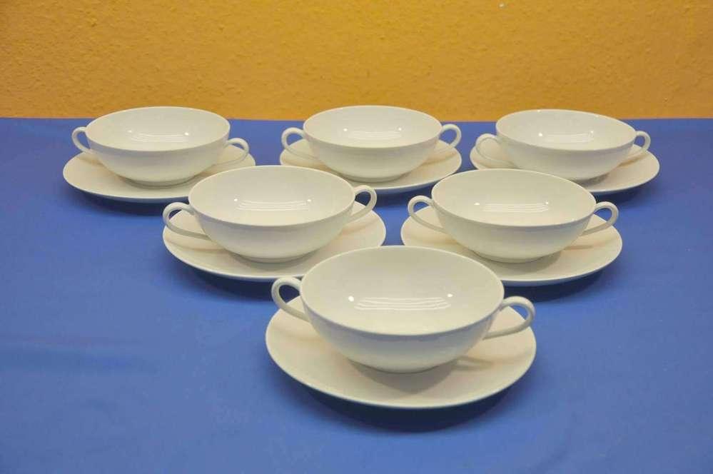 KPM Urbino white 6 soup cups Bauhaus Trude Petri & KPM Urbino white 6 soup cups Bauhaus Trude Petri - at Shop KuSeRa