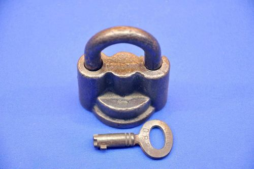 Old padlock by Sorglos D.R.P. wrought iron around 1900
