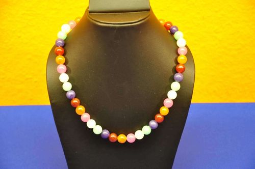 Multicolor Genuine Gemstone Necklace 45 cm round Beads