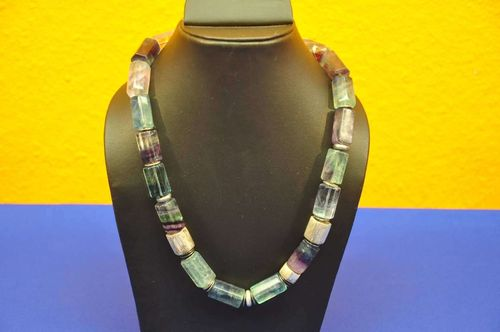Rainbow fluorite Necklace hexagonal + 925 beads
