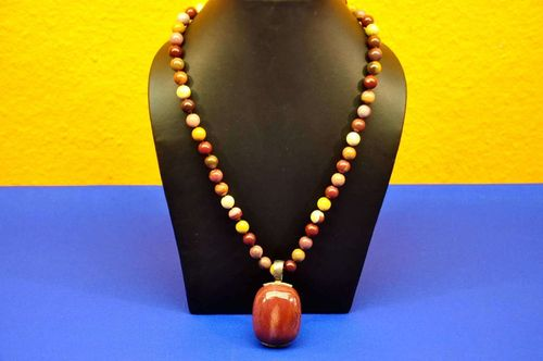 Jasper necklace round beads with cabochon pendant