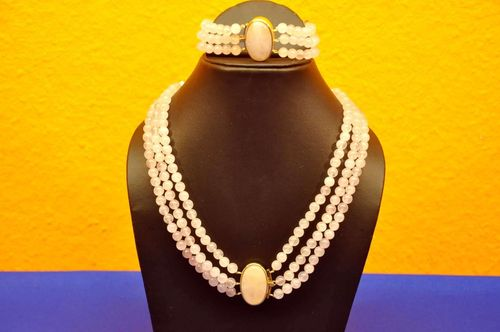 Rose Quartz jewelry set 3 rows with Cabochon