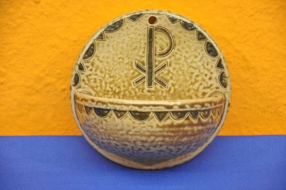 P  F  Pottery handmade holy water bowl - for sale at Shop KuSeRa