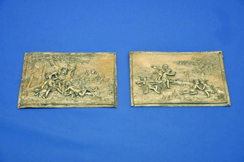 2 old pewter reliefs puttis at hunting + playful at lake