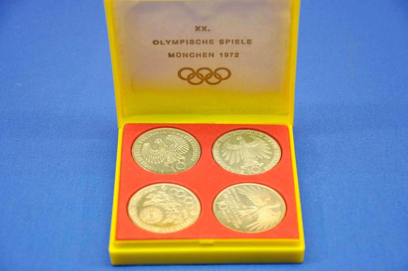 4x 10 Dm Münzen Olympische Spiele München 1972 Mit Box Kusera