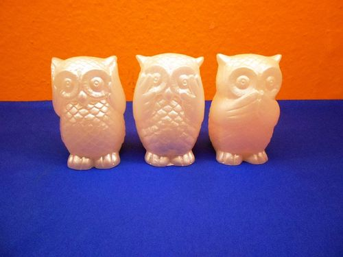 3-Set Owls mother of pearl with lighting NOS