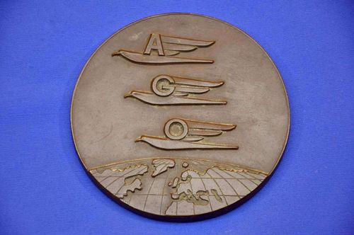 Bronze plaque AGO aircraft factories signed around 1940