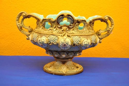Large ornate majolica bowl by WS & S around 1900