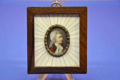 W.A. Mozart portrait miniature magnifying glass painting