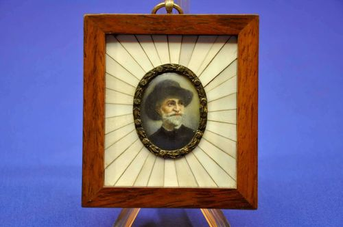 G. Verdi miniature portrait magnifying glass painting
