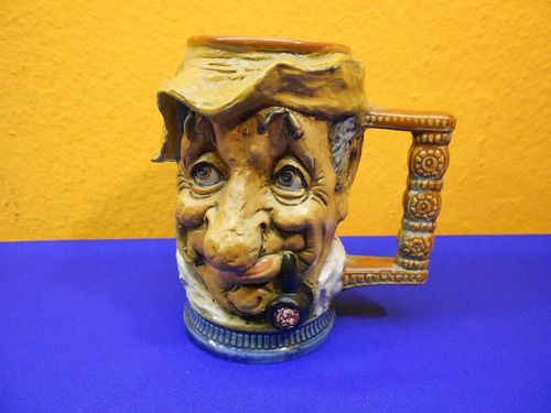 Capodimonte Figurine mug beer jar man with whistle