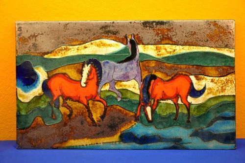Ceramic mural Ruscha 772 red horses on pasture