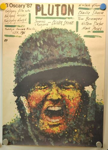 Pluton Platoon polish movie poster from the 80s Vintage