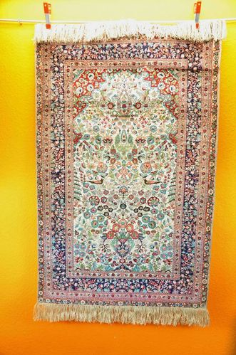 HEREKE vintage silk carpet 78 x 123 cm