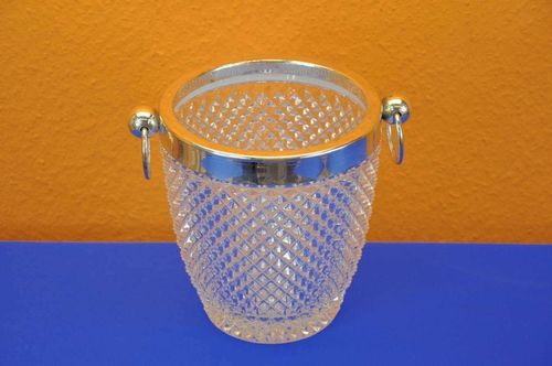 Vintage WMF ice cooler crystal brass edge silver plated