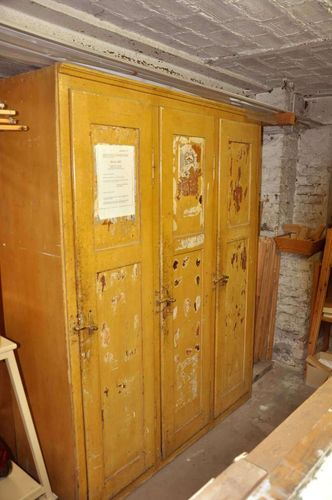 Antique wooden locker with 3 doors around 1880