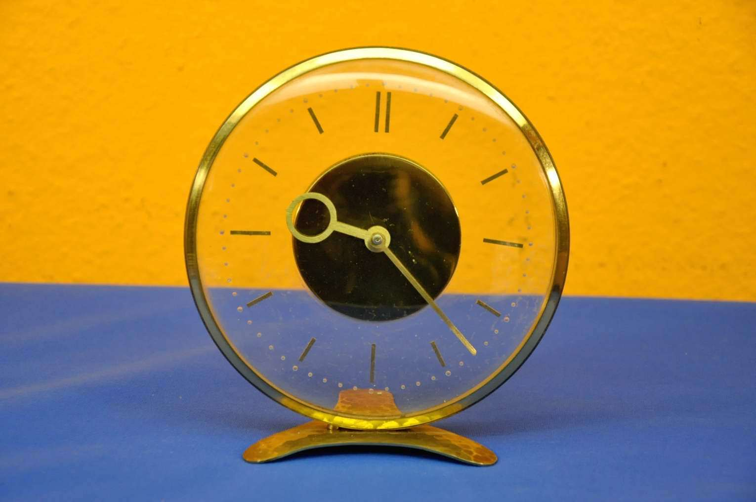 Mechanical Desk Clock Brass Floating Clockwork 1960s