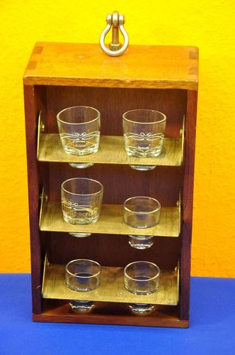 Mobile shot glass shelf for ship cedar wood Brass