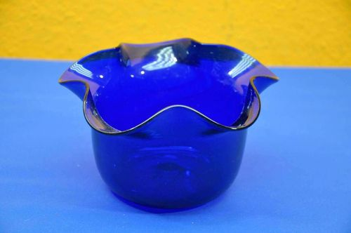Murano flower pot in royal blue Wave Edge