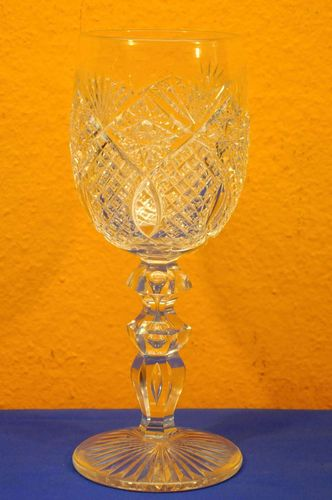 Large wineglass hand-cut with bubbles in the stem 1900