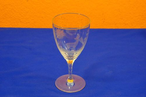 Vintage hunting style wine glass hand sanded
