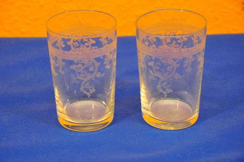2 Art Nouveau textured glass tumblers
