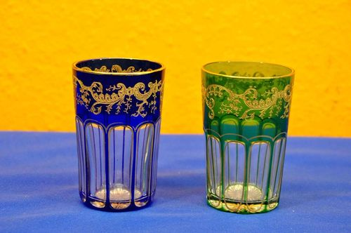 2 Art Nouveau colored cut to clear crystal mug