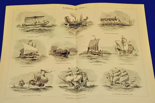 Steel engraving panel Ship types 1906