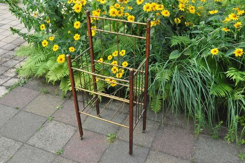 Coffee house newspaper rack Art Nouveau brass - wood
