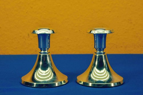 Heuser Oslo Norway 835 Silver Pair Candle Holders 2
