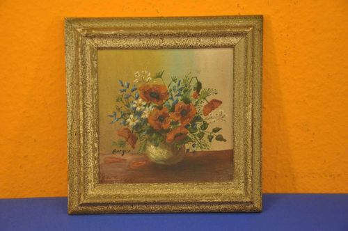 Oil painting floral still life Poppy Magarite 1940s