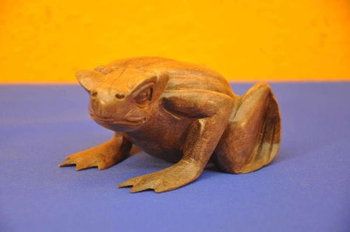 Hand carved frog made of teak around 1960