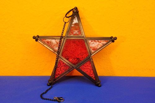Window star textured glass red tea light hand work