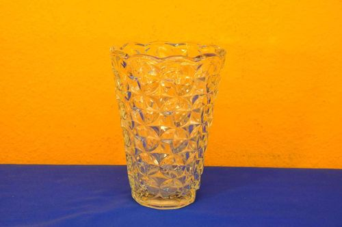 Great 70s pressed glass flower vase clear
