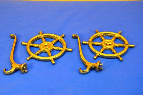 2 clothes hooks for wall solid brass ship steering wheel