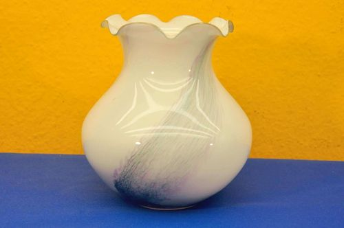 Bulbous vase white colored to clear crystal