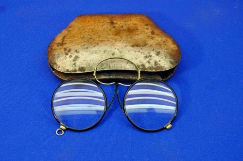 Antique reading glasses pince-nez goggles with case 1880