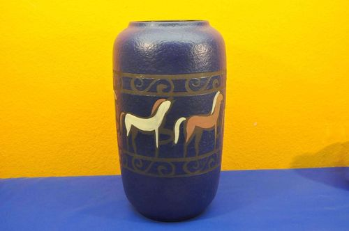 Scheurich German Ceramic Vase 54640 horses fat lava blue