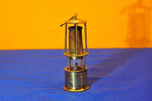 Miniature miners lamp brass