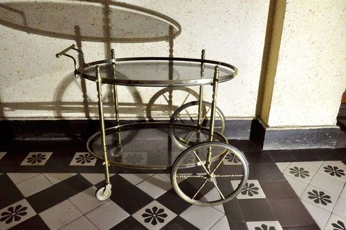 Tea Trolley Serving Trolley Brass and Smoking Glass