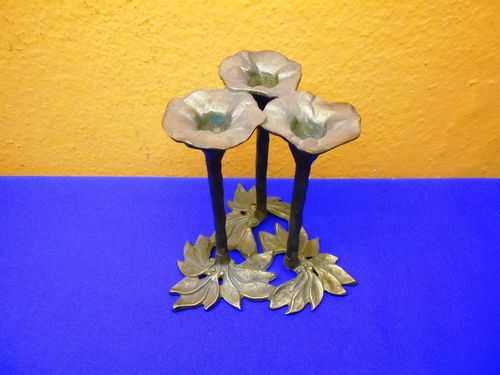 Art Nouveau candle holder floral decor made of brass